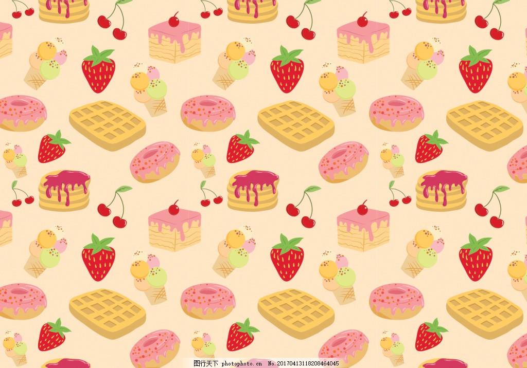 手绘甜品背景