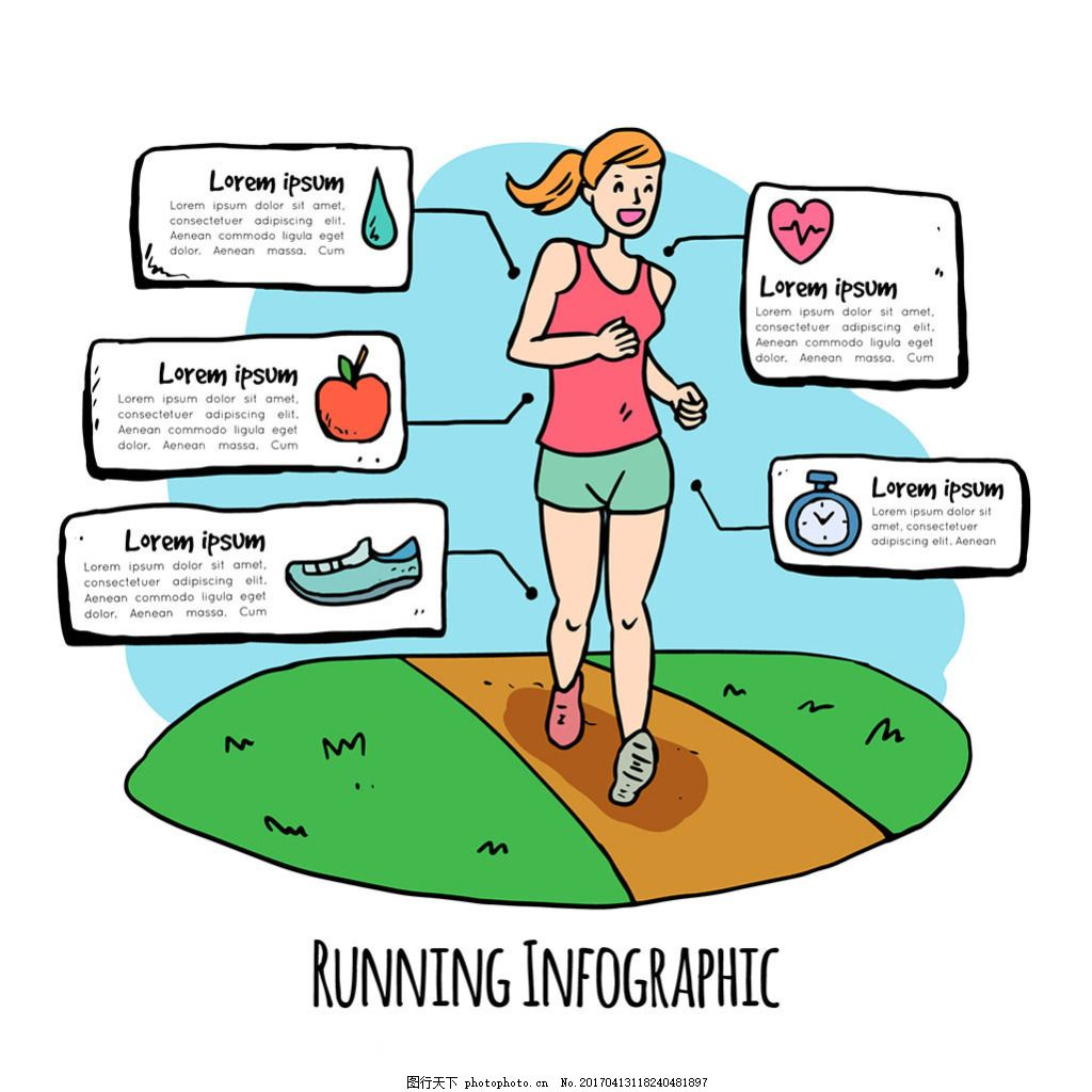 手绘女孩跑步信息图设计