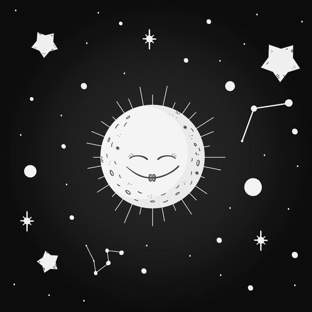 可爱的月亮星星黑色背景
