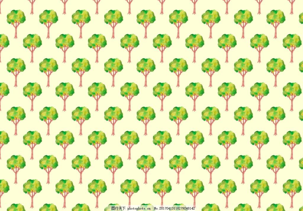 手绘树木清新背景素材