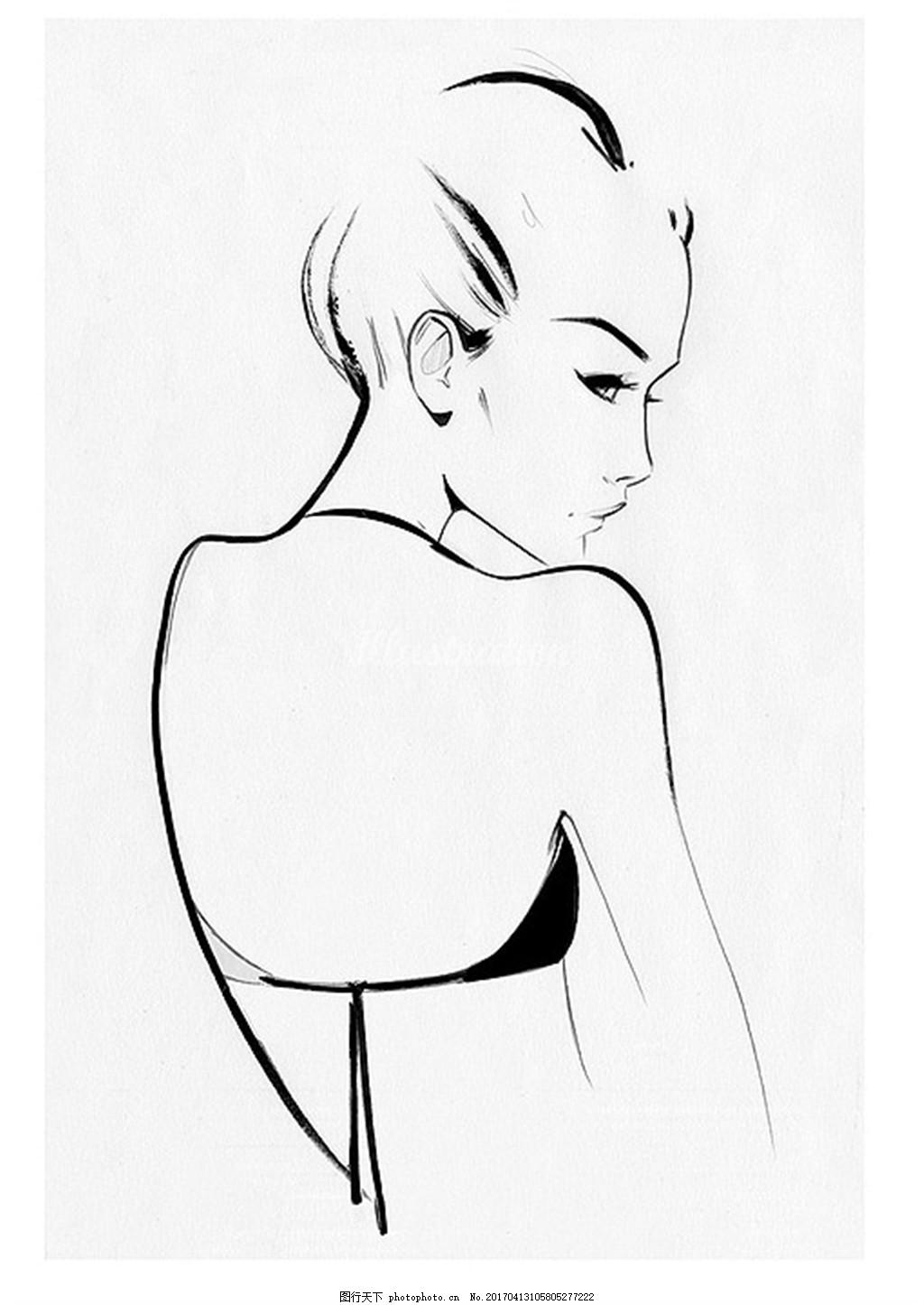 内衣速写黑白手绘