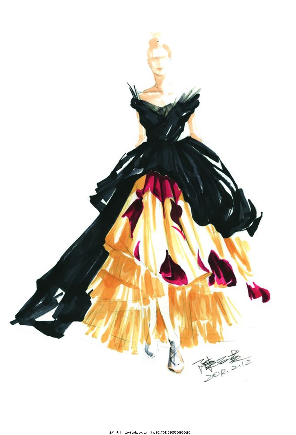 时尚长裙设计手绘图 服装设计 时尚女装 职业女装 职业装 女装设计