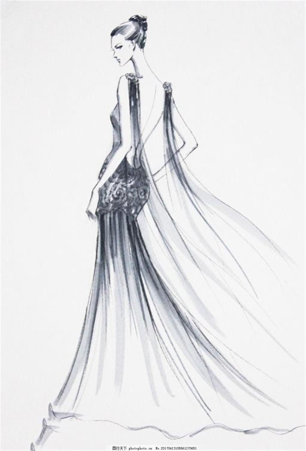 长裙礼服设计手绘图 时尚女装 职业女装 职业装 女装设计效果图