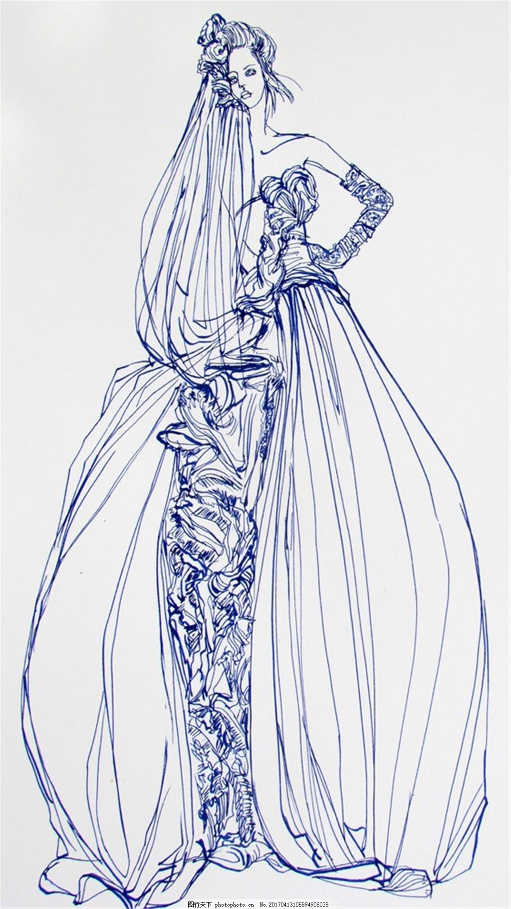 蓝色礼服设计图