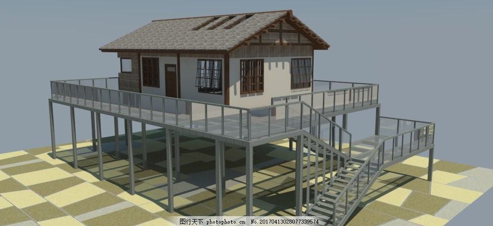 架空 木屋 建筑 钢结构 坡屋顶 草图大师 su模型