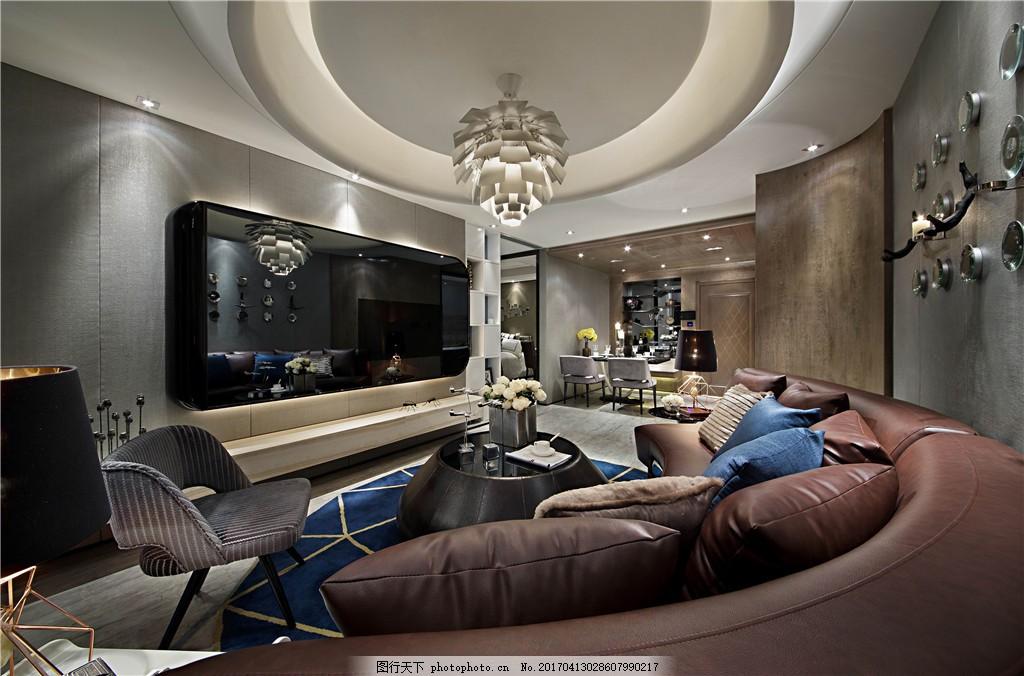 圆形室内客厅设计图