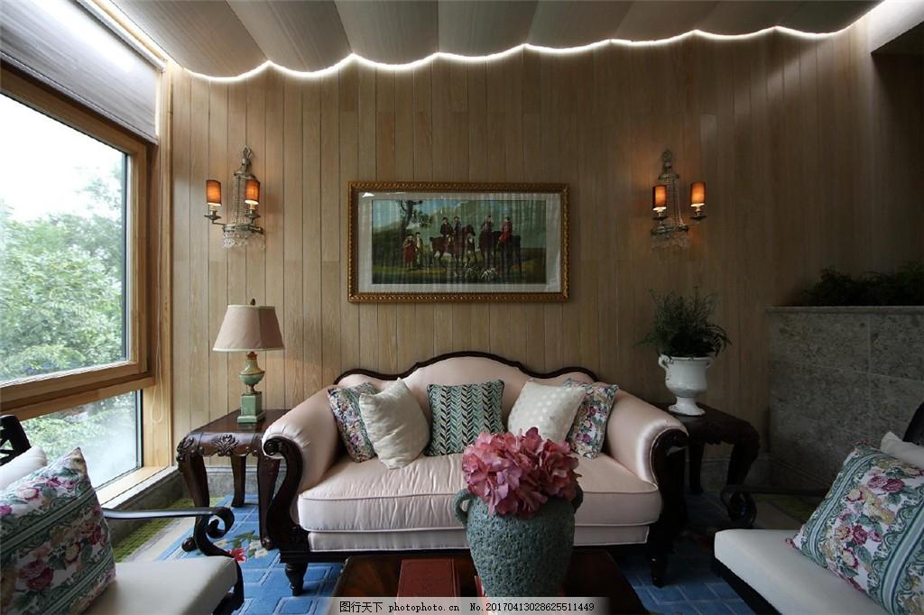 美式时尚客厅沙发背景墙设计图 家居 家居生活 室内设计 装修 家具图片