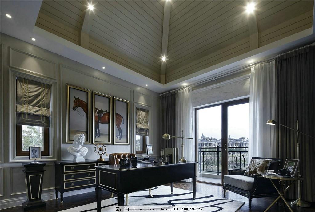现代别墅客厅样板房效果图