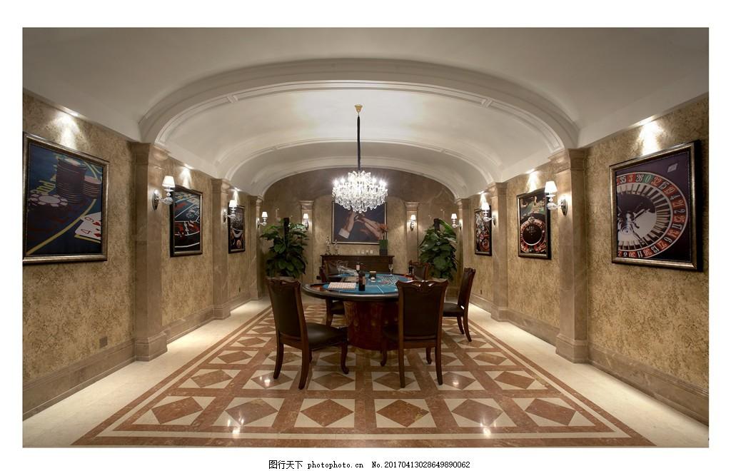 室内设计家装效果图 菱形 地板 餐厅 电视 挂画