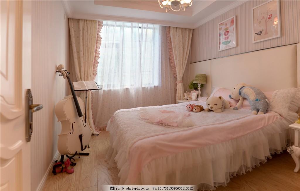 新中式公主房装修效果图 室内设计 家装效果图 美式装修效果图 时尚图片