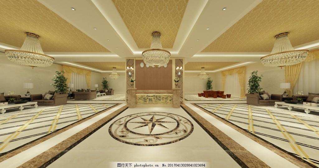 酒店大堂效果图源文件下载 酒店大堂 工装效果图 欧式风格 地砖 天花