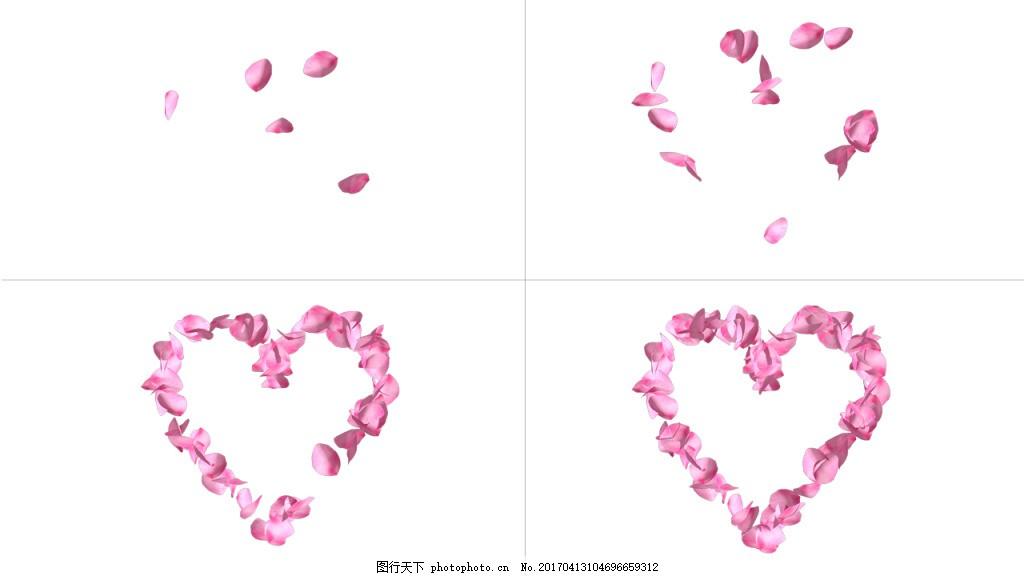 桃花花瓣围成心形视频