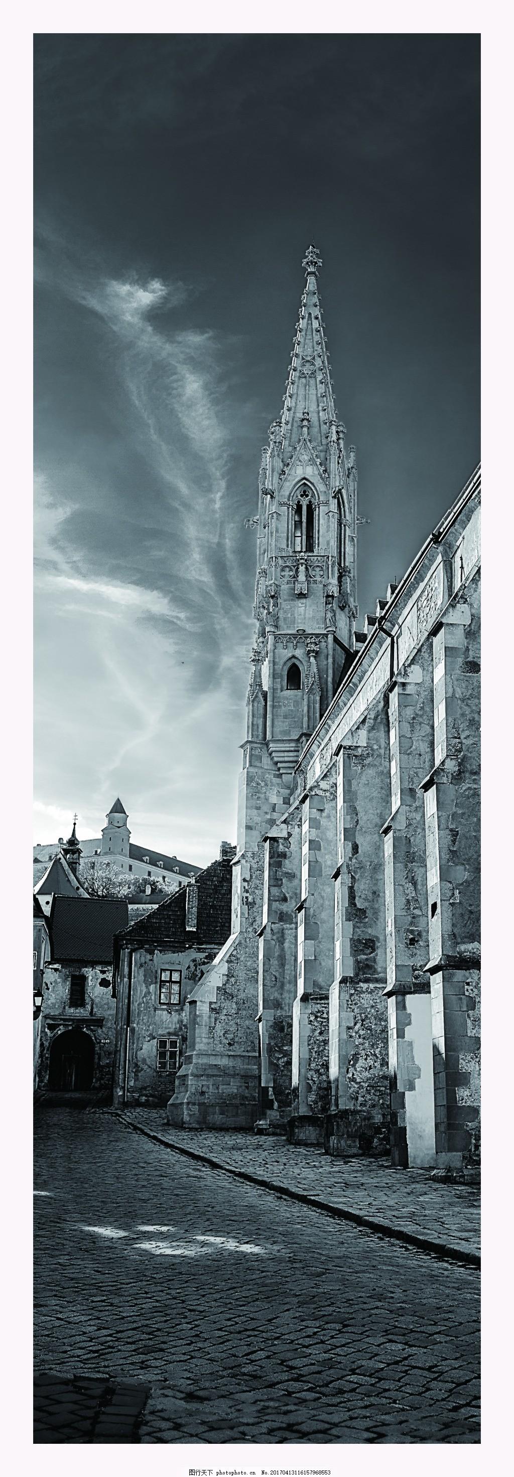 黑白建筑风景艺术装饰画