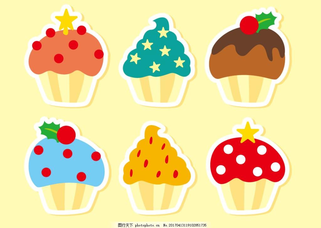 扁平化杯子蛋糕 手绘糖果 手绘食物 手绘美食 甜品 手绘甜点 矢量素材