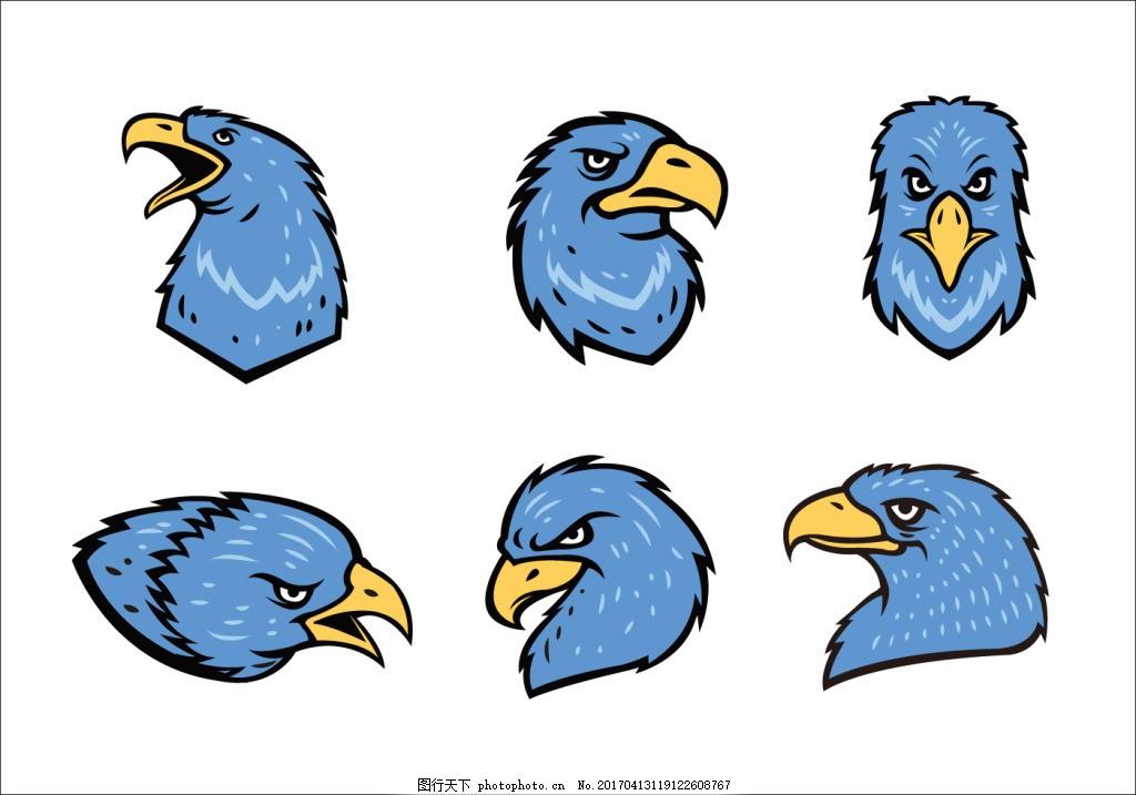 鹰吉祥物头像 鹰头像 手绘动物 鹰图标