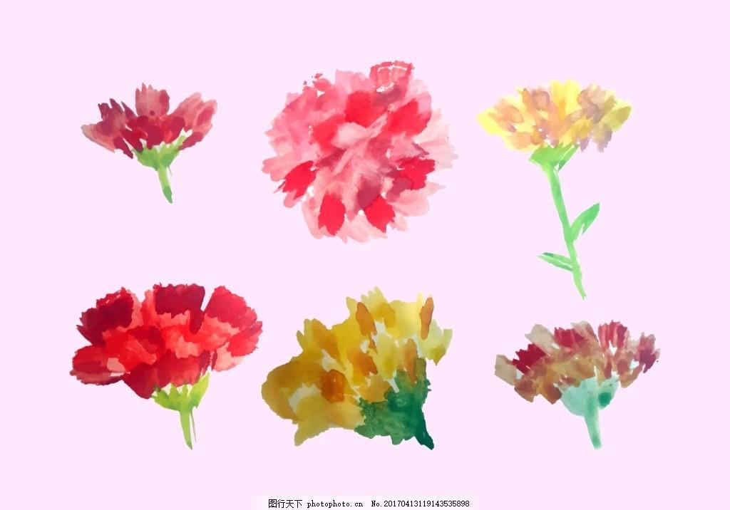 水彩手绘康乃馨