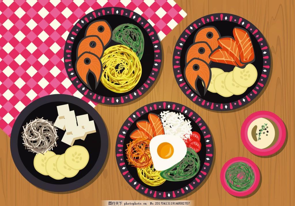 美食 食物 手绘食物 矢量素材 美食插画 美食图标 扁平化美食 韩国