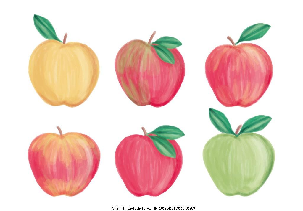 手绘彩铅苹果 手绘水果 水果素材 水果 可爱水果 矢量素材 手绘植物