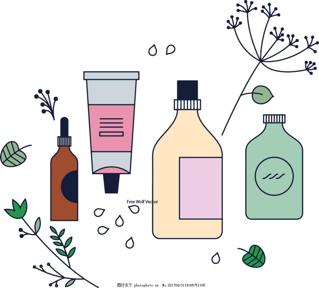 手绘化妆品素材 护肤品 手绘护肤品 矢量素材 保养品 护手霜 瓶子