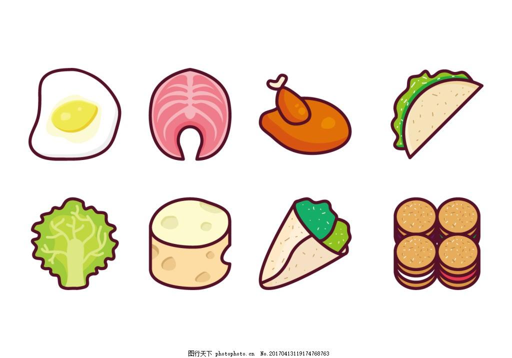 手绘矢量美食插画 食物 美食 手绘食物 矢量素材 美食插画 扁平化食物