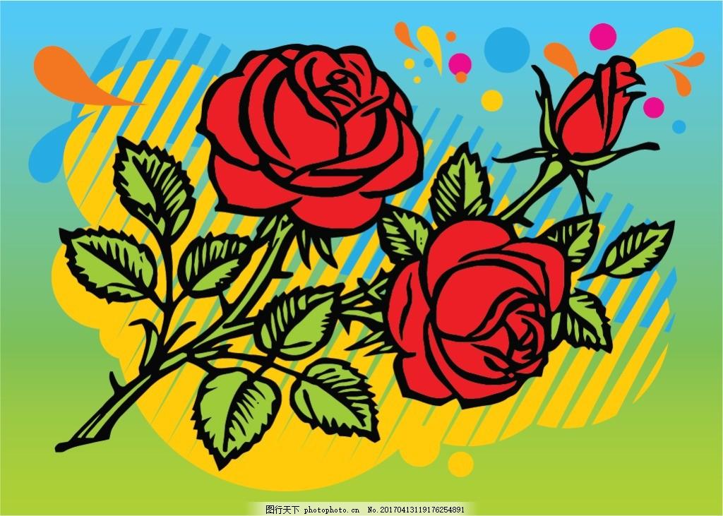 手绘涂鸦玫瑰花素材 手绘花卉 手绘植物 花卉花朵 花束 花朵图案