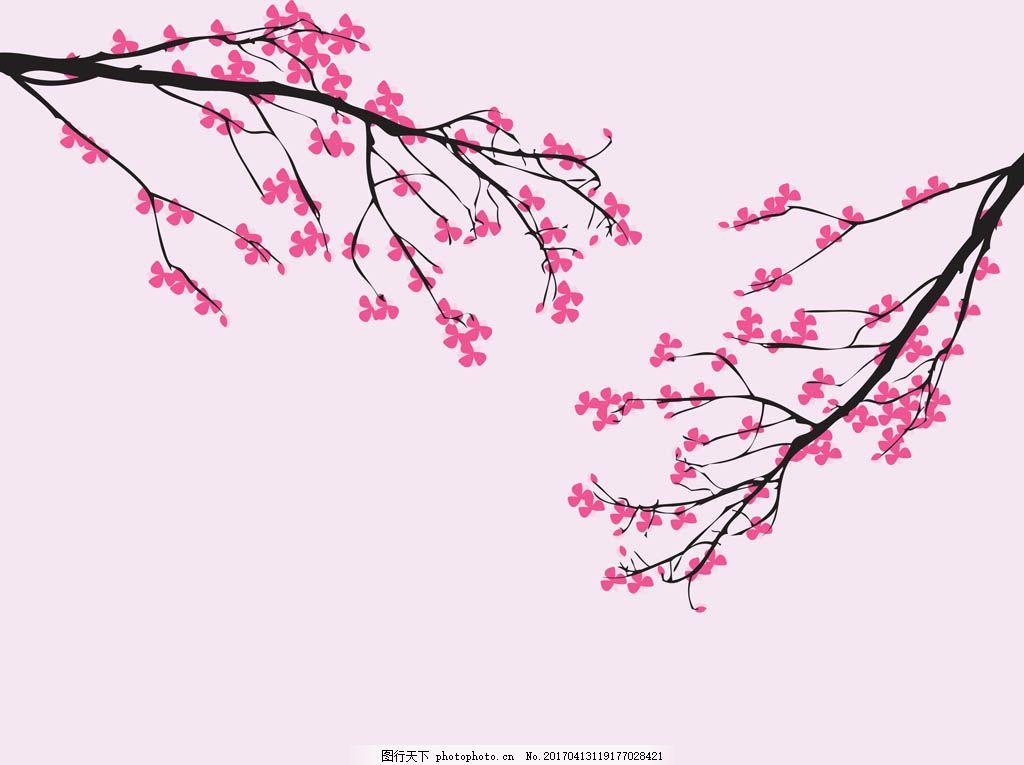 手绘桃花樱花素材