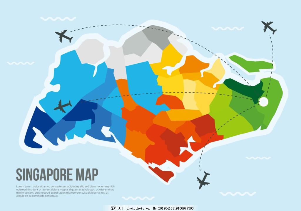 多边形新加坡地图 新加坡地图 地图 矢量地图 手绘地图 矢量素材