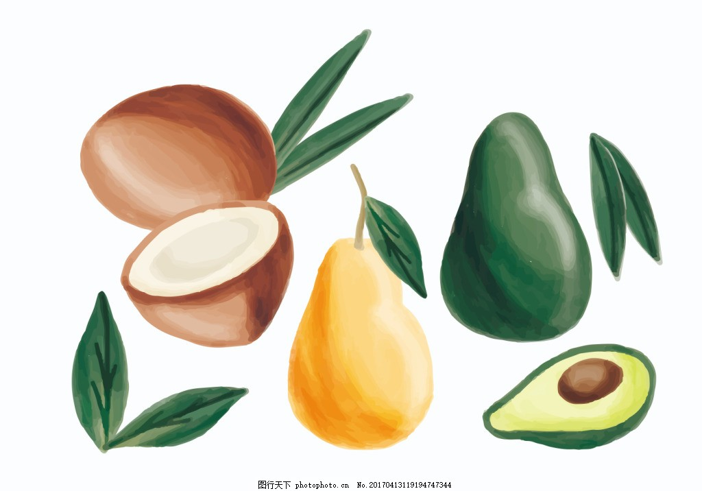 彩铅手绘水果素材 可爱水果 矢量素材 手绘植物 扁平化水果 果实