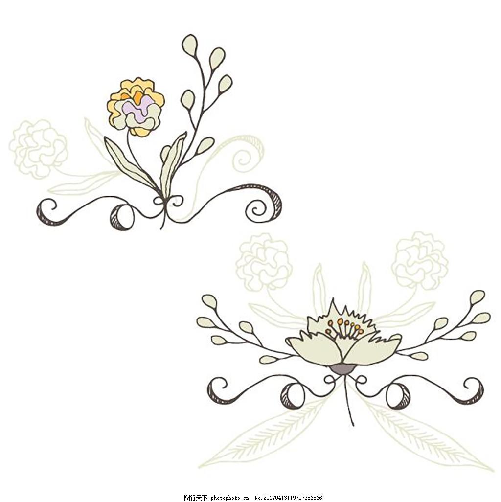 花纹花卉花边元素 欧式花纹 水彩 手绘 花纹 花边 装饰花纹 卡片 文本