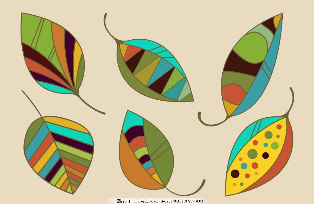 手绘创意花纹树叶