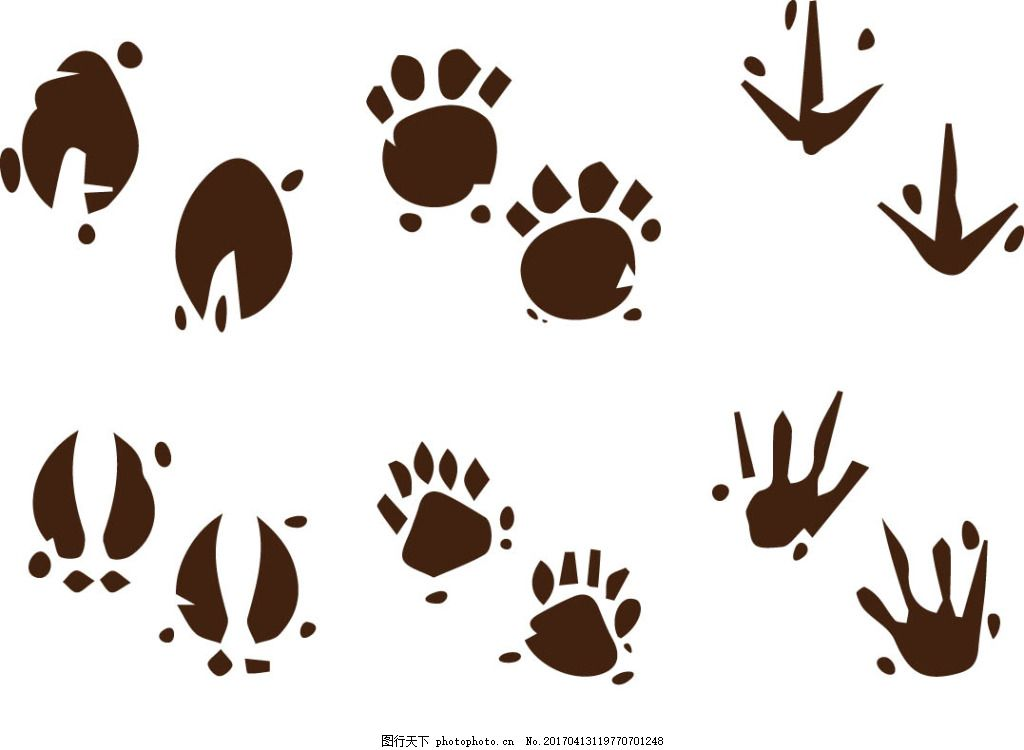 矢量动物爪子 卡通动物 动物素材 手绘动物 矢量素材 扁平动物