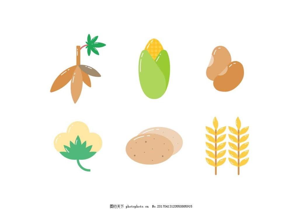 麦 麦子 矢量素材 手绘植物 手绘麦子 手绘麦穗 稻田 谷物 小麦 玉米