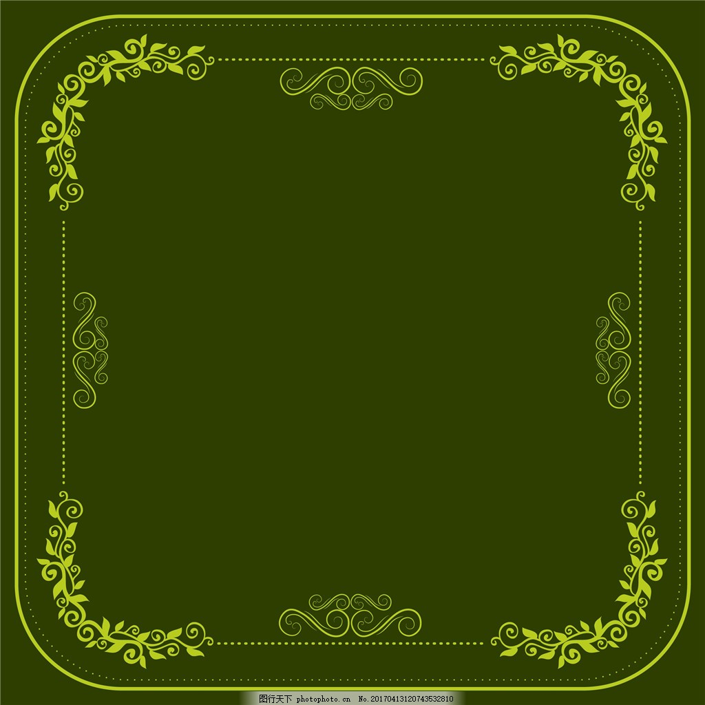 绿色花纹边框 边框 边框素材 手绘花卉 花卉花朵 矢量素材 花纹边框