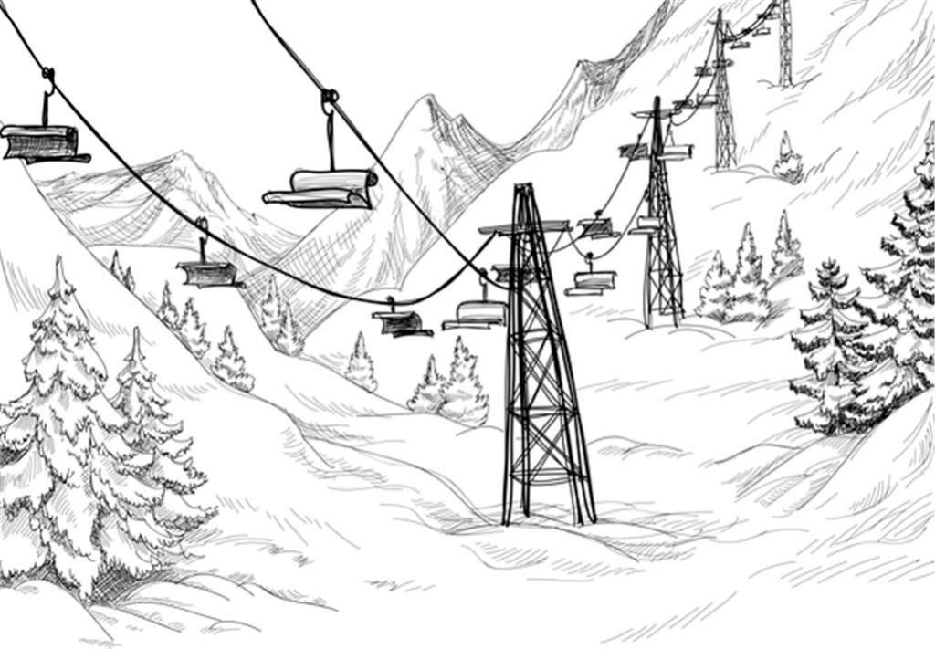 手绘素描山上的缆车场景矢量素材下载
