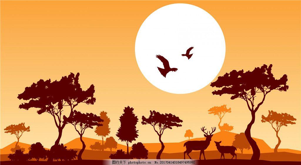 黄昏森林动物插画