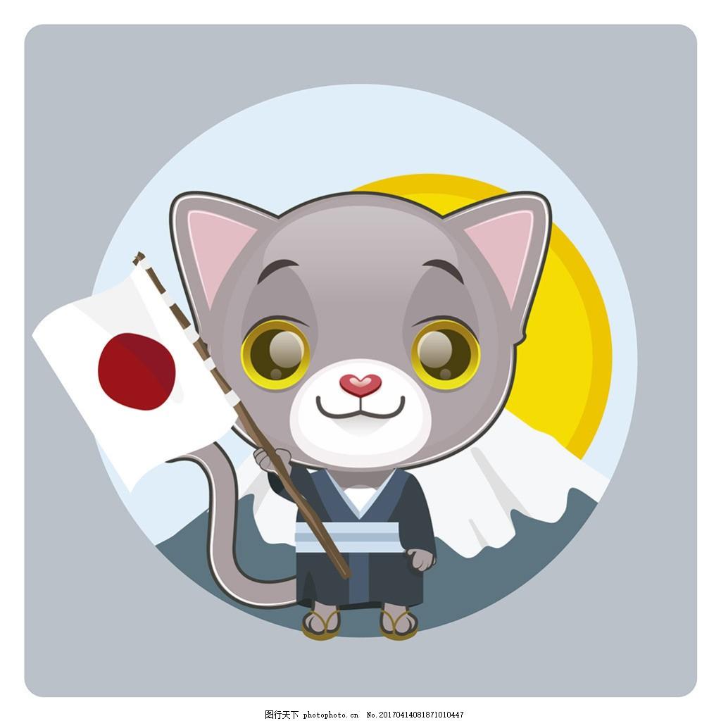 日本国旗背景的猫插图 日本国旗 背景 猫 插图 卡通动物 矢量素材