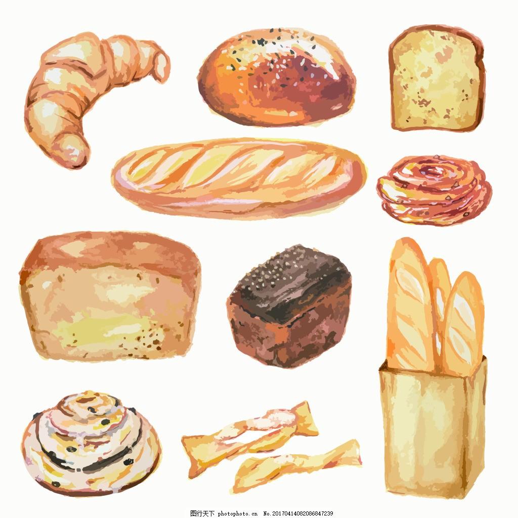 面包素描手绘水果食物矢量图