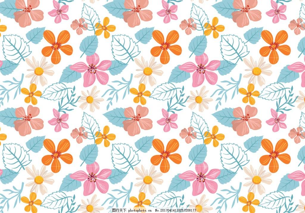 唯美小清新彩铅手绘花卉背景 手绘花朵 花卉花朵 矢量素材 手绘植物