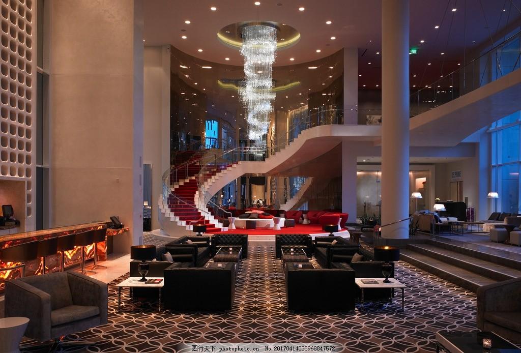 好莱坞w酒店 酒店大堂 旋转楼梯 艺术吊灯 休闲沙发 大堂吧 休闲走廊