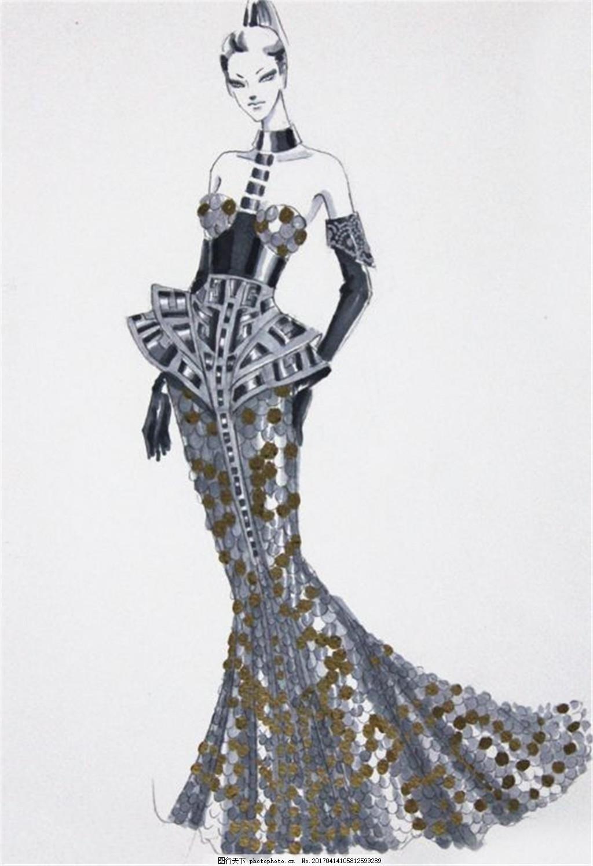 长裙礼服设计手绘图