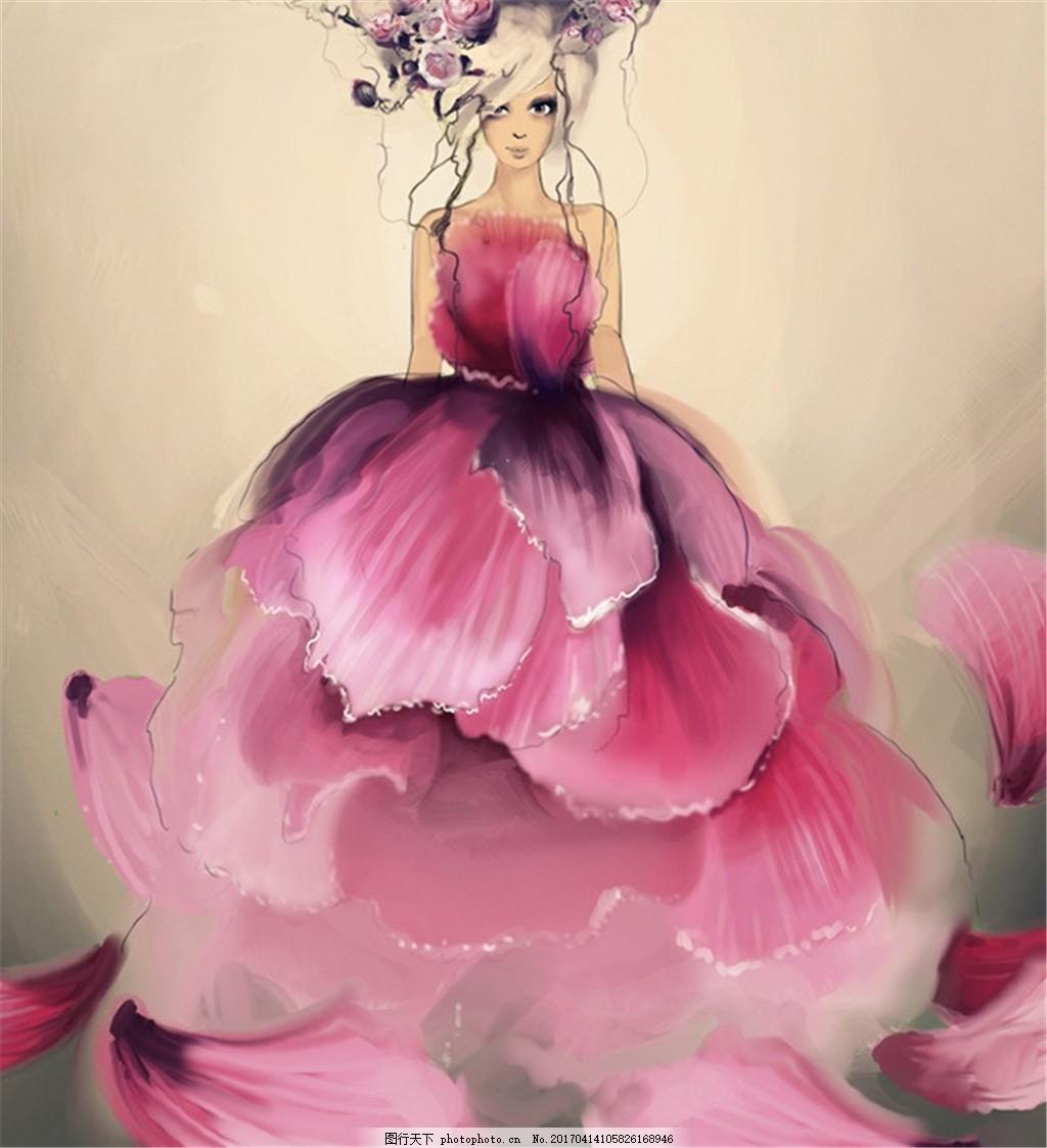 粉色花瓣灵感礼服设计图 时尚女装 女装设计效果图 短裙 服装图片免费