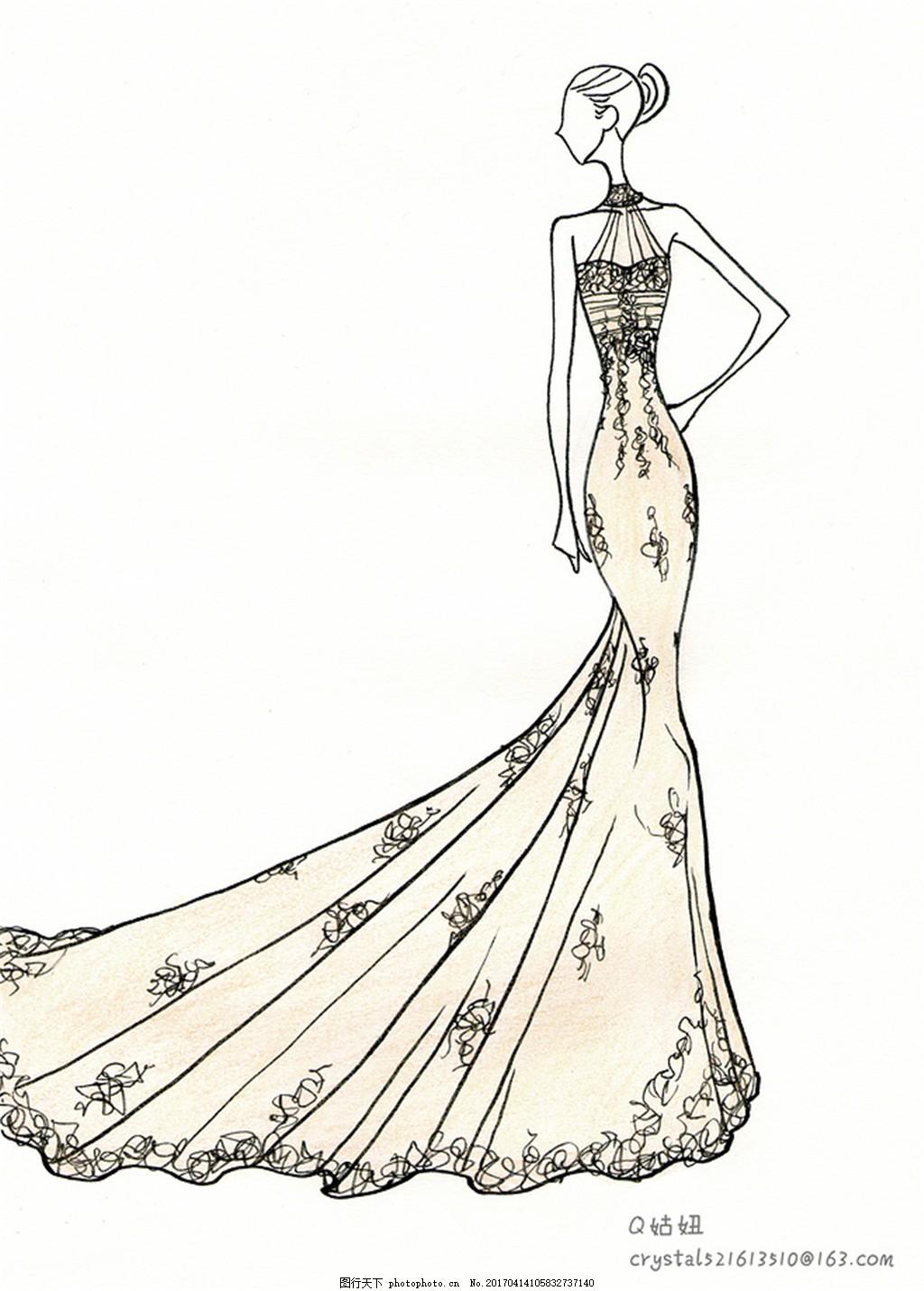 婚纱手绘设计图 女生图片