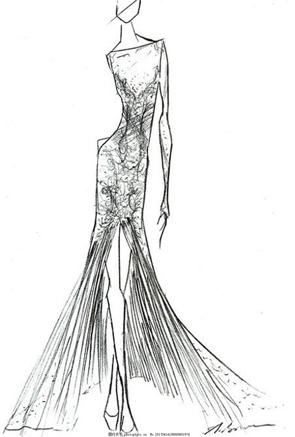长裙礼服设计线稿 服装设计 时尚女装 职业女装 职业装 女装设计效果