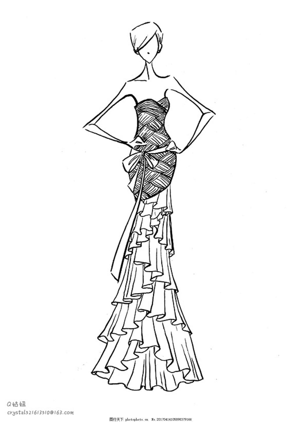 挺胸长裙礼服设计图 服装设计 时尚女装 职业女装 职业装 女装设计