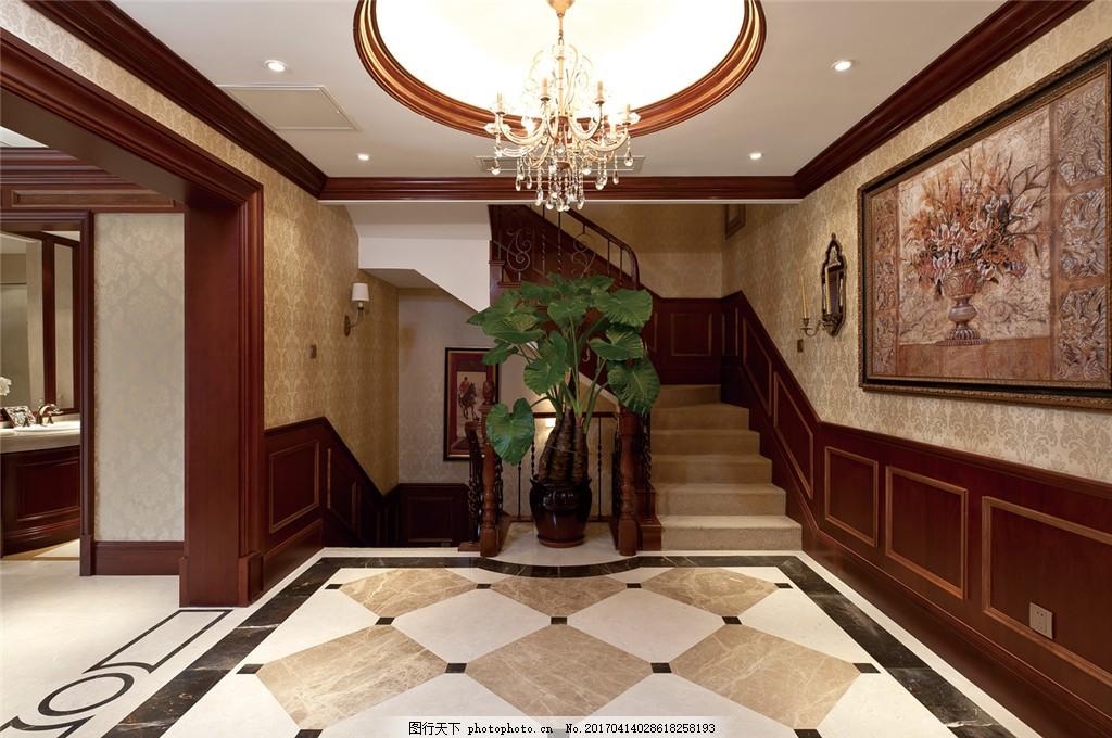 美式别墅大厅楼梯效果图 室内设计 家装效果图 美式装修效果图 时尚
