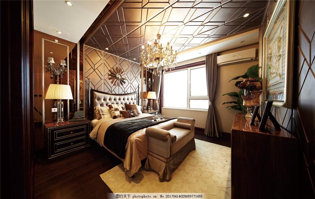 欧风卧室室内设计家装效果图 欧式      菱形 吊顶 台灯 床 床头柜 墙