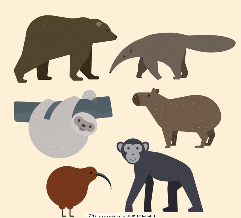 卡通野生动物 棕熊 大猩猩 树赖