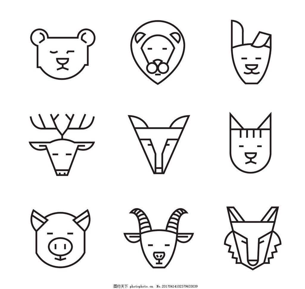 动物头像线型图标图片