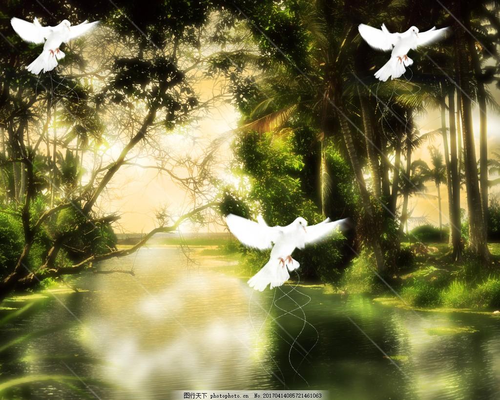 梦幻风景背景 风景漫画 梦幻背景 森林 树林 树木 童话背景素材