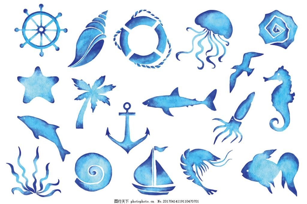 水彩海样生物,水彩生物 水彩动物 手绘水彩 水彩海洋
